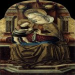 Carlo Crivelli (c. 1435  c. 1495)  Virgin and Child Enthroned  Tempera on panel, c. 1476  107 x 55 cm  Museum of Fine Arts, Budapest, Hungary